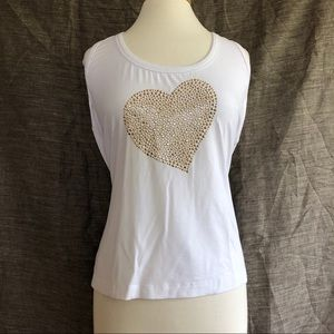 ST. JOHN JEANS White Heart Embellished Tank Top